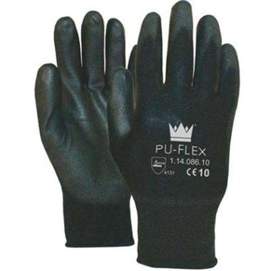Handschoen PU-Flex Nylon zwart  Cat.2 L  (verpakt per 12 paar)* * Kleur kan varieren per levering; Zwart / Wit