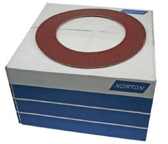 NORTON Aluminiumoxide schuurringen Ø 200 mm. klitbevestiging P 60 t.b.v. LAGLER TRIO schuurmachine Afname per 100 stuks